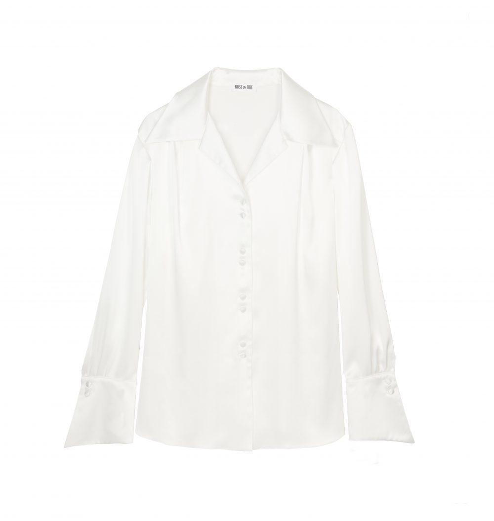 Biała koszula satynowa Jane - Rose on Fire - Sandra Kuźniak - Polska Marka Autorska