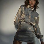 Komplet Koszula Oversize Lauren Spódniczka Mini Świecąca Brook Błękit Złoto Rose on Fire Sandra Kuźniak Polska Autorska Marka