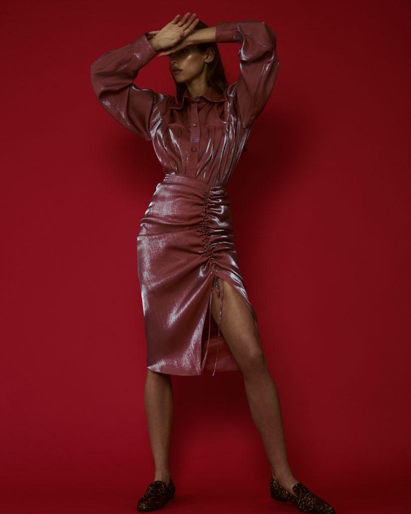 Komplet Koszula Oversize Lauren Spódnica Świecąca Anita z Rozcięciem Pomarańcz Blękit Rose on Fire Sandra Kuźniak Polska Autorska Marka