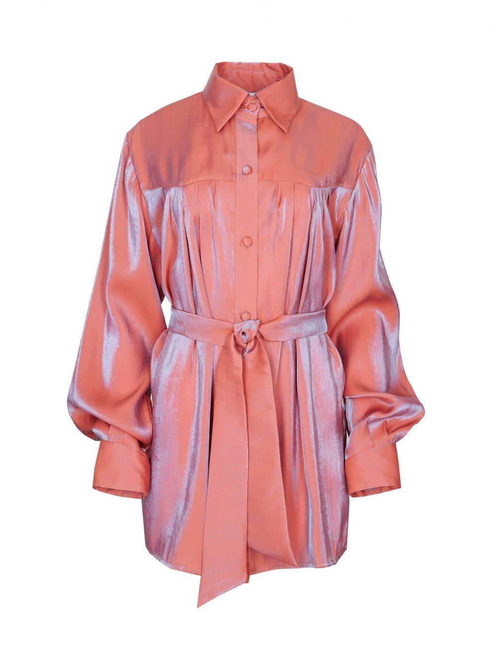 Mieniąca się koszula oversize Rose on Fire w kolorze pomarańczy i błękitu.