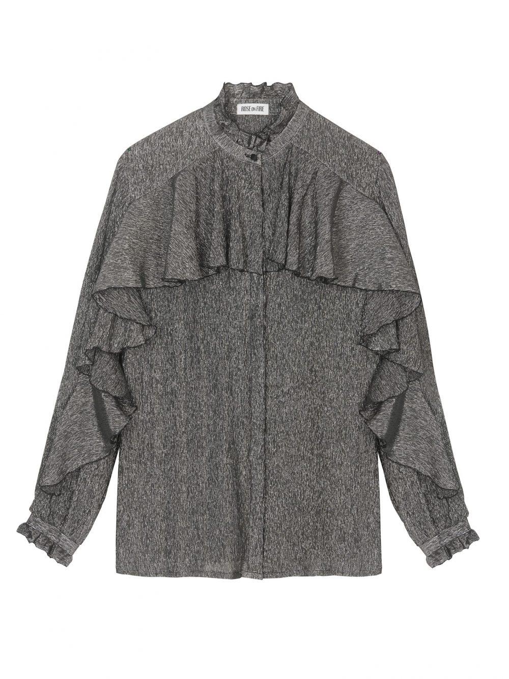 Czarna Jedwabna koszula z falbaną ze srebrną nitką Marianne - Rose on Fire - Sandra Kuźniak - Polska Marka Autorska