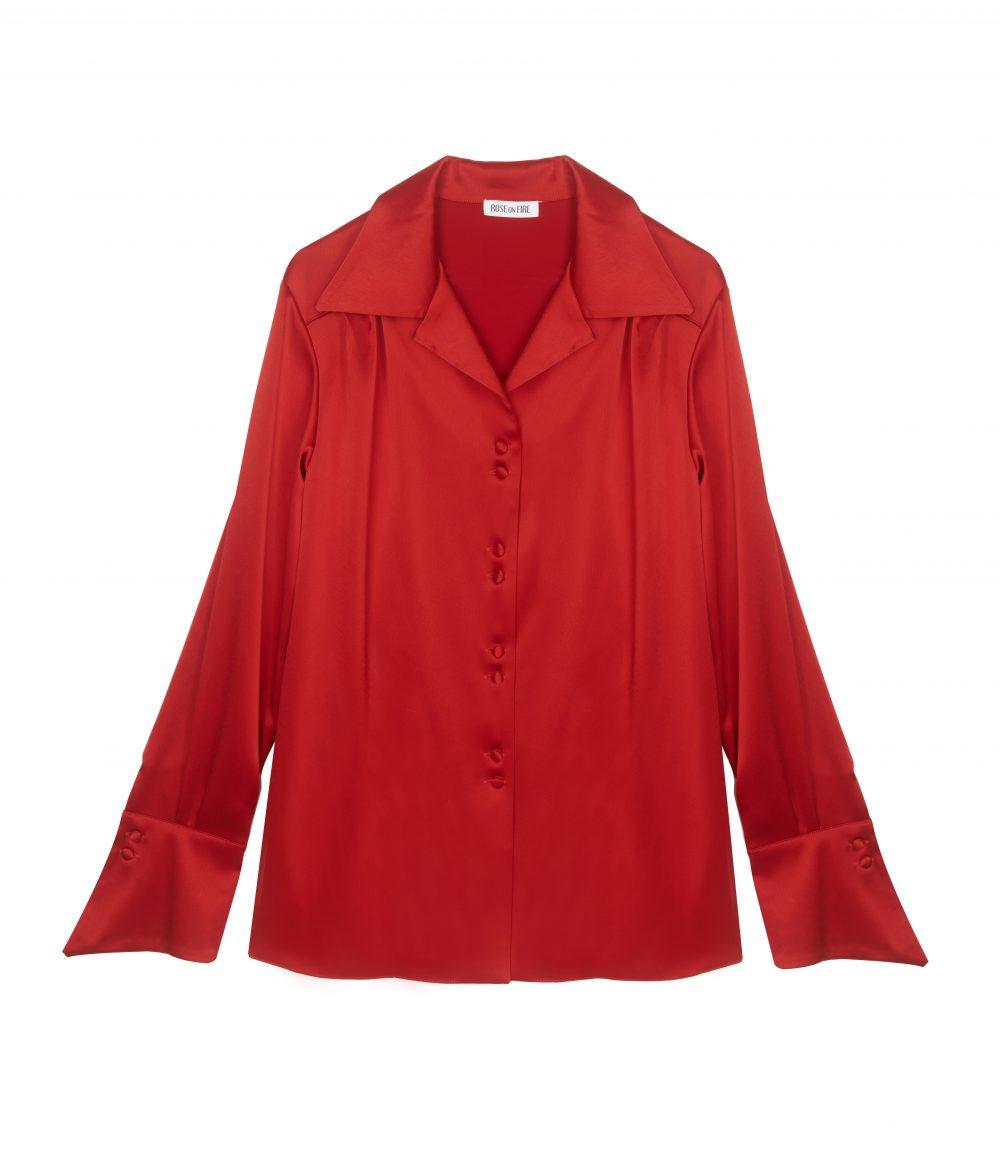 Czerwona koszula satynowa Jane - Rose on Fire - Sandra Kuźniak - Polska Marka Autorska